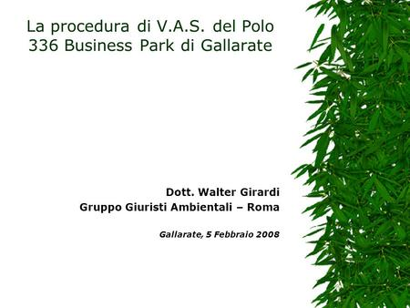La procedura di V.A.S. del Polo 336 Business Park di Gallarate