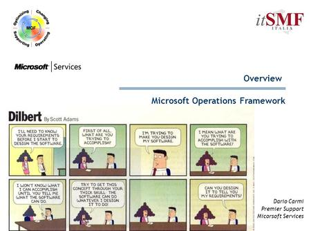 Dario Carmi Premier Support Micorsoft Services Microsoft Operations Framework Overview.