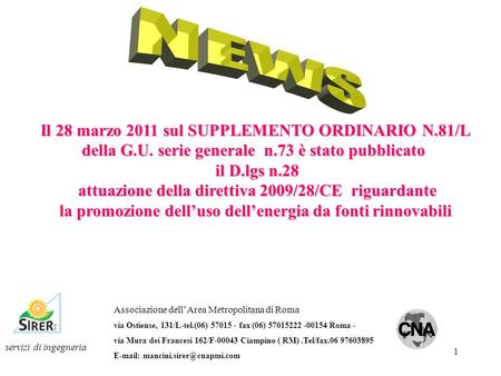 NEWS Il 28 marzo 2011 sul SUPPLEMENTO ORDINARIO N.81/L