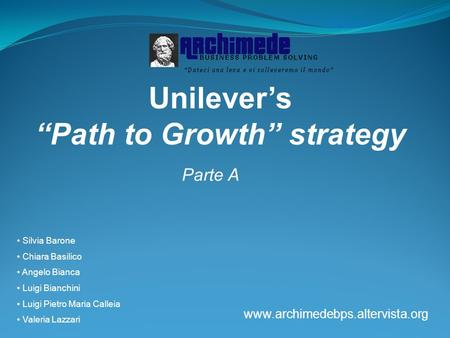 "Unilever's ""Path to Growth"" strategy"