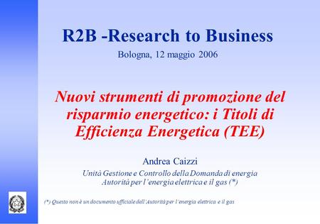 R2B -Research to Business Bologna, 12 maggio 2006