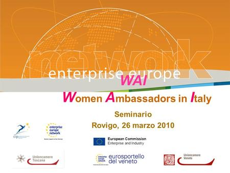 WAI W omen A mbassadors in I taly Seminario Rovigo, 26 marzo 2010 PLACE PARTNERS LOGO HERE European Commission Enterprise and Industry.