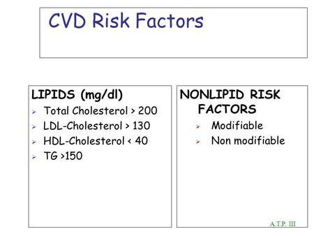 CVD Risk Factors LIPIDS (mg/dl) Total Cholesterol > 200 LDL-Cholesterol > 130 HDL-Cholesterol < 40 TG >150 NONLIPID RISK FACTORS Modifiable Non modifiable.