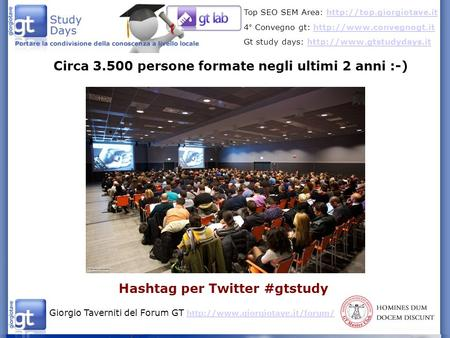 Giorgio Taverniti del Forum GT   Top SEO SEM Area: