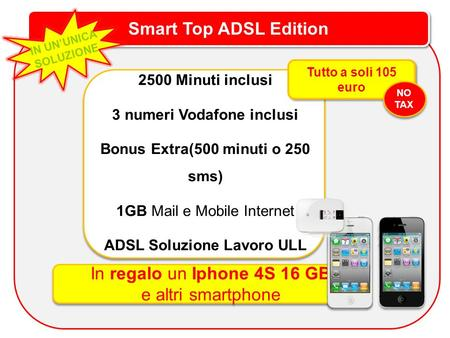 Smart Top ADSL Edition IN UNUNICA SOLUZIONE 2500 Minuti inclusi 3 numeri Vodafone inclusi Bonus Extra(500 minuti o 250 sms) 1GB Mail e Mobile Internet.