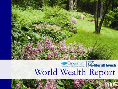 World Wealth Report 2007. World Wealth Report 2007, June 27 th Media Presentation 2007 World Wealth Report.