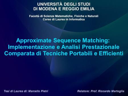 Approximate Sequence Matching: Implementazione e Analisi Prestazionale