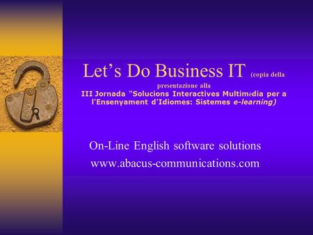 On-Line English software solutions