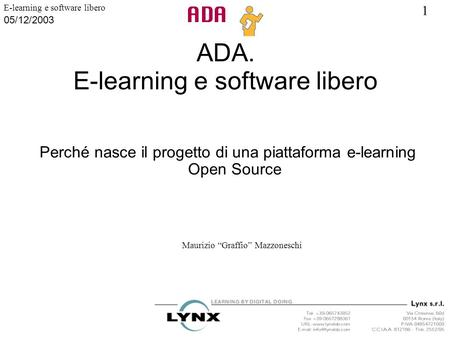 ADA. E-learning e software libero