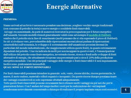 Energie alternative PREMESSA