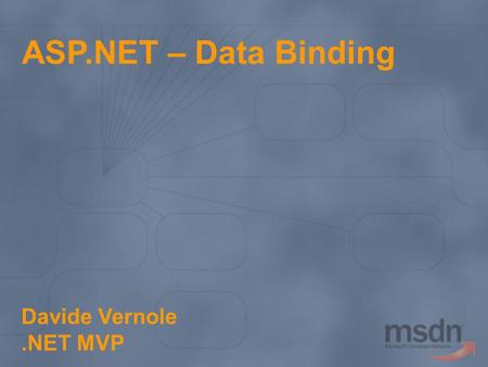 ASP.NET – Data Binding Davide Vernole .NET MVP.