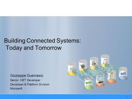 1 Building Connected Systems: Today and Tomorrow Giuseppe Guerrasio Senior.NET Developer Developer & Platform Division Microsoft.
