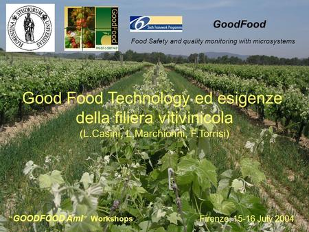 Firenze, 15-16 July 2004 GOODFOOD AmI Workshops Food Safety and quality monitoring with microsystems GoodFood Good Food Technology ed esigenze della filiera.