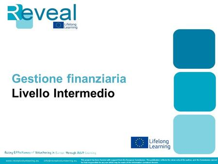 Gestione finanziaria Livello Intermedio This project has been funded with support from the European Commission. This publication reflects the views only.