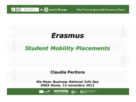 Erasmus Student Mobility Placements Claudia Peritore We Mean Business National Info Day ENEA Roma, 13 novembre 2012.