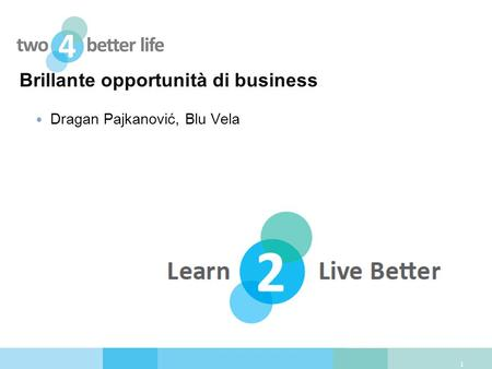Brillante opportunità di business Dragan Pajkanović, Blu Vela 1.
