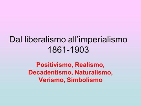 Dal liberalismo all'imperialismo
