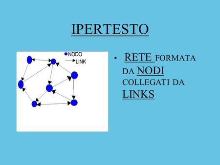 IPERTESTO RETE FORMATA   DA NODI COLLEGATI DA LINKS.