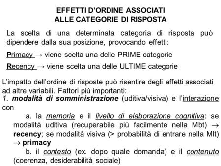 EFFETTI D'ORDINE ASSOCIATI ALLE CATEGORIE DI RISPOSTA