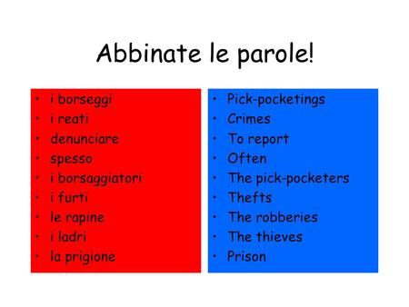 Abbinate le parole! i borseggi i reati denunciare spesso i borsaggiatori i furti le rapine i ladri la prigione Pick-pocketings Crimes To report Often The.