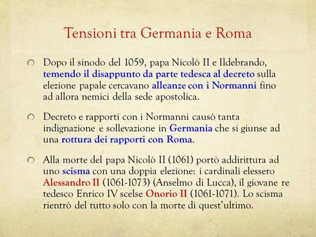 Tensioni tra Germania e Roma