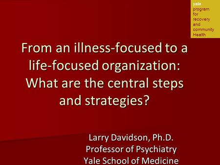 From an illness-focused to a life-focused organization: What are the central steps and strategies? Larry Davidson, Ph.D. Professor of Psychiatry Yale School.