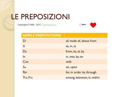 LE PREPOSIZIONI SIMPLE PREPOSITIONS Diof, made of, about, from Ato, in, at Dafrom, to, at, by Inin, into, by, on Conwith Suon, upon Perfor, in order to,