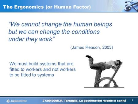The Ergonomics (or Human Factor)