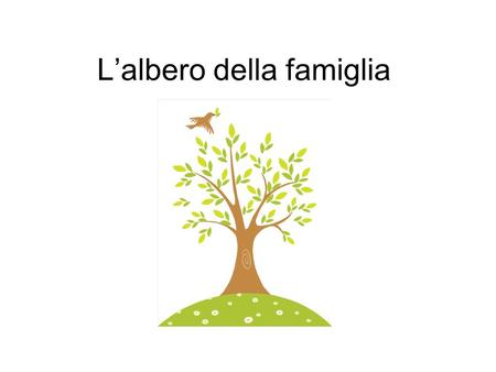 Lalbero della famiglia. Create a Family Tree On posterboard Include at least 10 (ten) family members (11 including you) For each person you must have: