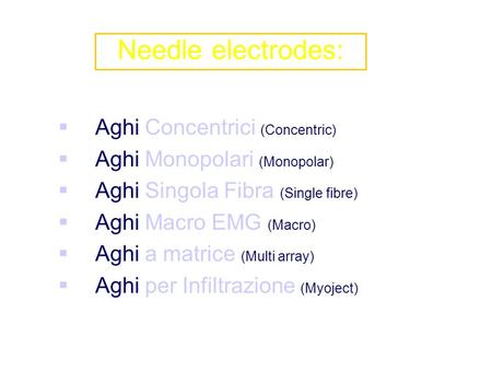 Needle electrodes: Aghi Concentrici (Concentric)