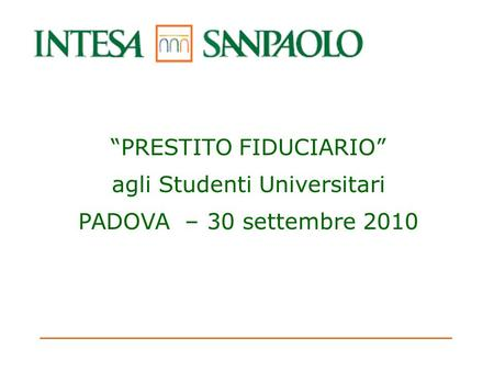 """PRESTITO FIDUCIARIO"" agli Studenti Universitari"
