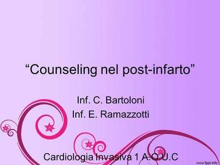 """Counseling nel post-infarto"""