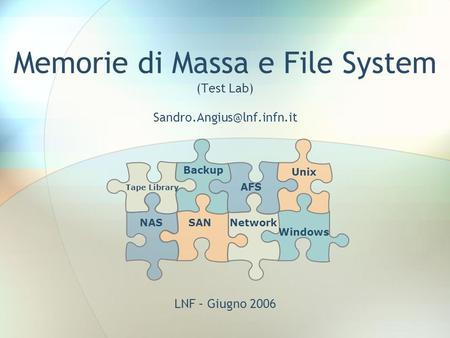 Memorie di Massa e File System (Test Lab) Unix AFS Network Backup Tape Library LNF – Giugno 2006 NASSAN Windows.