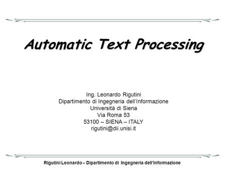 Automatic Text Processing