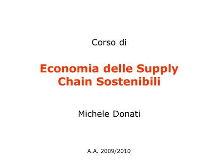 Economia delle Supply Chain Sostenibili