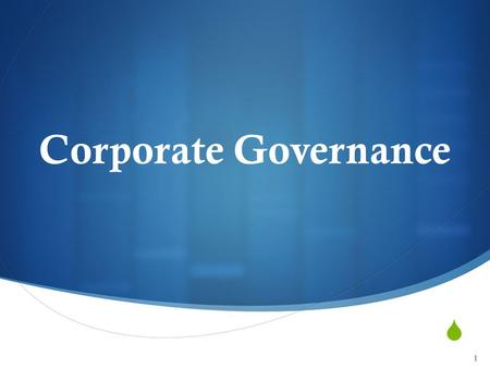 Corporate Governance.