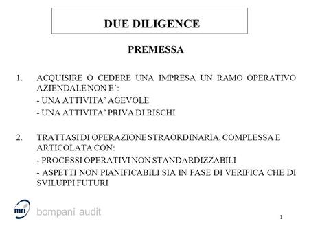 DUE DILIGENCE PREMESSA bompani audit