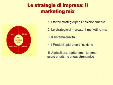 1 Le strategie di impresa: il marketing mix 1. I fattori strategici per il posizionamento 2. Le strategie di mercato: il marketing mix 3. Il sistema qualità