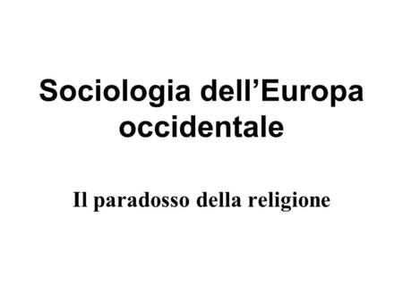 Sociologia dell'Europa occidentale