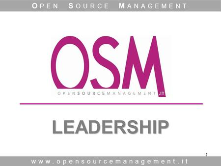 1 LEADERSHIP LEADERSHIP www.opensourcemanagement.it O PEN S OURCE M ANAGEMENT.