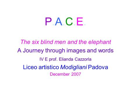 P.A.C.E. The six blind men and the elephant