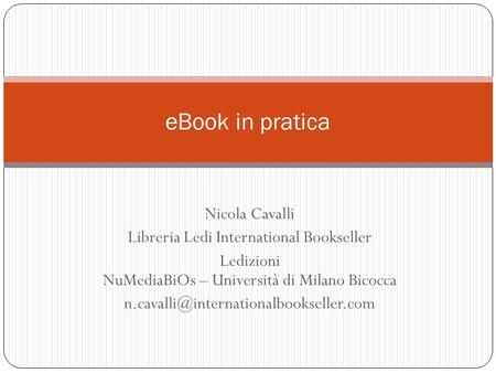 eBook in pratica Nicola Cavalli Libreria Ledi International Bookseller