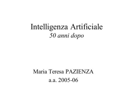 Intelligenza Artificiale 50 anni dopo