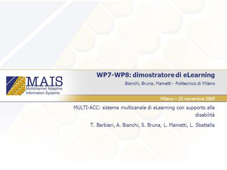 WP7-WP8: dimostratore di eLearning