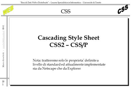 Cascading Style Sheet CSS2 – CSS/P