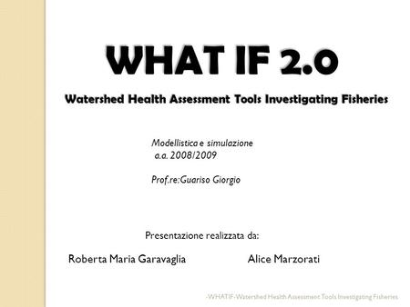 WHAT IF 2.0 Watershed Health Assessment Tools Investigating Fisheries Watershed Health Assessment Tools Investigating Fisheries Roberta Maria Garavaglia.