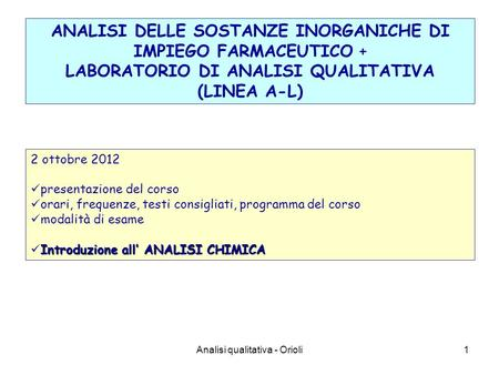 LABORATORIO DI ANALISI QUALITATIVA