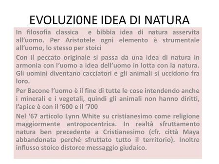 EVOLUZI0NE IDEA DI NATURA