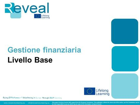 Gestione finanziaria Livello Base This project has been funded with support from the European Commission. This publication reflects the views only of the.