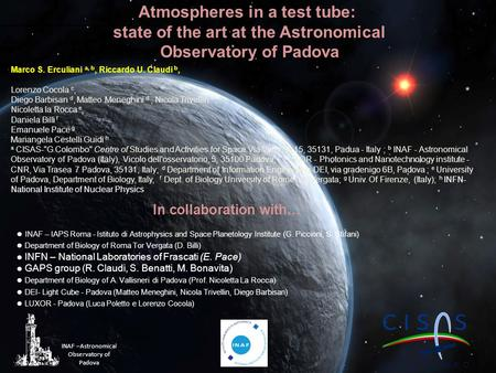 Atmospheres in a test tube: state of the art at the Astronomical